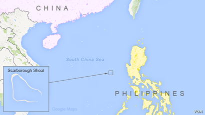 Map showing location of Scarborough Shoal in the South China Sea