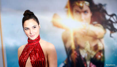 "Cast member Gal Gadot poses at the premiere of ""Wonder Woman"" in Los Angeles, California, May 25, 2017."