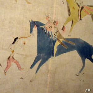 Scenes of battle and horse raiding decorate a muslin Lakota tipi from the late 19th or early 20th century.
