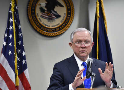 Attorney General Jeff Sessions, speaks to a gathering of law enforcement officials at the United States Attorney's offices, March 15, 2018, in Lexington, Kentucky