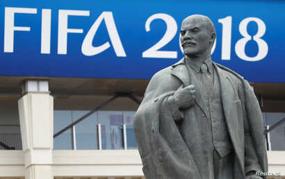 A statue of Vladimir Lenin is pictured outside the Luzhniki stadium in Moscow, Russia, after training, June 13, 2018.