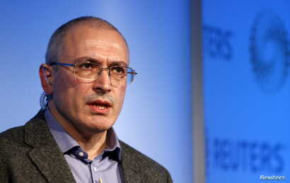 FILE - Former Russian tycoon Mikhail Khodorkovsky speaks during a Reuters Newsmaker event at Canary Wharf in London, Britain.