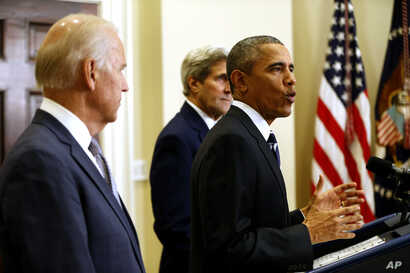President Barack Obama, accompanied by Vice President Joe Biden and Secretary of State John Kerry, announces he's rejecting the Keystone XL pipeline because he does not believe it serves the national interest, Nov. 6, 2015.
