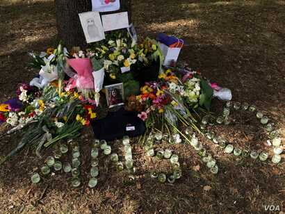 The memorial to Ansi Alibava, 23, who was killed in the Christchurch mosque attacks on March 15, 2019. (S. Miller/VOA)