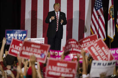 Republican presidential candidate Donald Trump campaigns at the Jacksonville Equestrian Center in Jacksonville, Fla, Nov. 3, 2016.