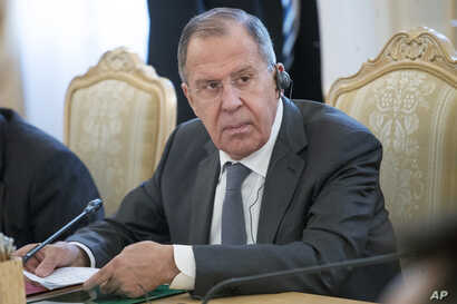 Russian Foreign Minister Sergey Lavrov attends a meeting in Moscow, Russia, April 5, 2018.
