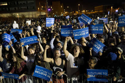 Supporters cheer during a campaign rally for Democratic presidential candidate Bernie Sanders, I-Vt., at Hunters Point park, April 18, 2016, in the Queens borough of New York.