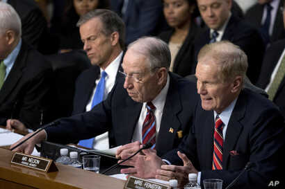 FILE - Sen. Bill Nelson, D-Fla.(R) speaks during joint hearings on Capitol Hill Washington, regarding the use of Facebook data to target American voters in the 2016 election.