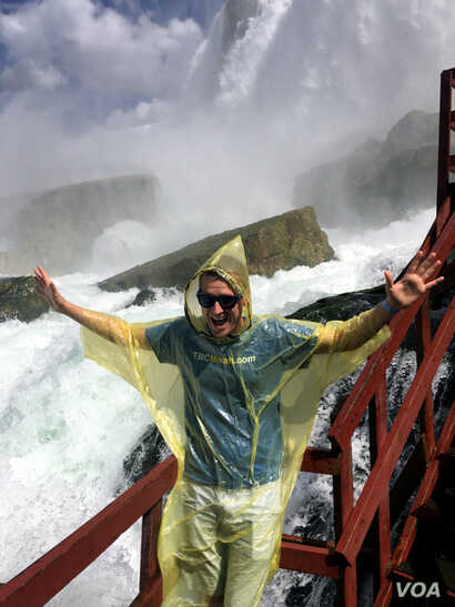 Visitors can get up close - and wet - at the falls.