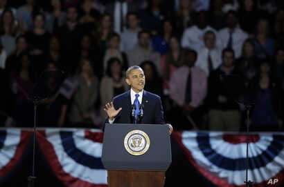 President Barack Obama speaks at his election night party November 7, 2012, in Chicago, Illinois.