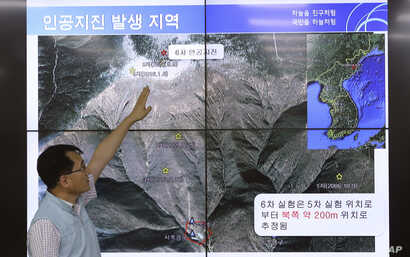 Earthquake and Volcano of the Korea Monitoring Division Director Ryoo Yong-gyu explains an artificial earthquake in North Korea, in Seoul, South Korea, Sept. 3, 2017. North Korean TV says the country has successfully tested a hydrogen bomb that is me...