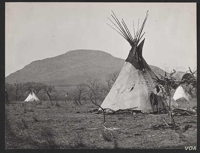 Kiowa Camp at Base of Mount Scott Near Fort Sill,1867. 01162100.  (Photo by William S. Soule, 1867 courtesy National Anthropological Archives, Smithsonian Institution, Washington, D.C.)