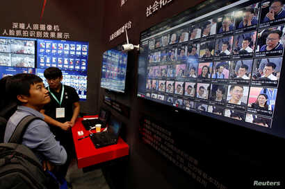 Facial recognition technology is shown at DeepGlint booth during the China Public Security Expo in Shenzhen, China October 30, 2017. Picture taken October 30, 2017.