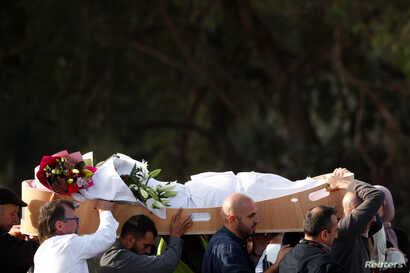 People carry the body of a victim during a burial ceremony for those killed in the mosque attacks, at the Memorial Park Cemetery in Christchurch, New Zealand, March 22, 2019.