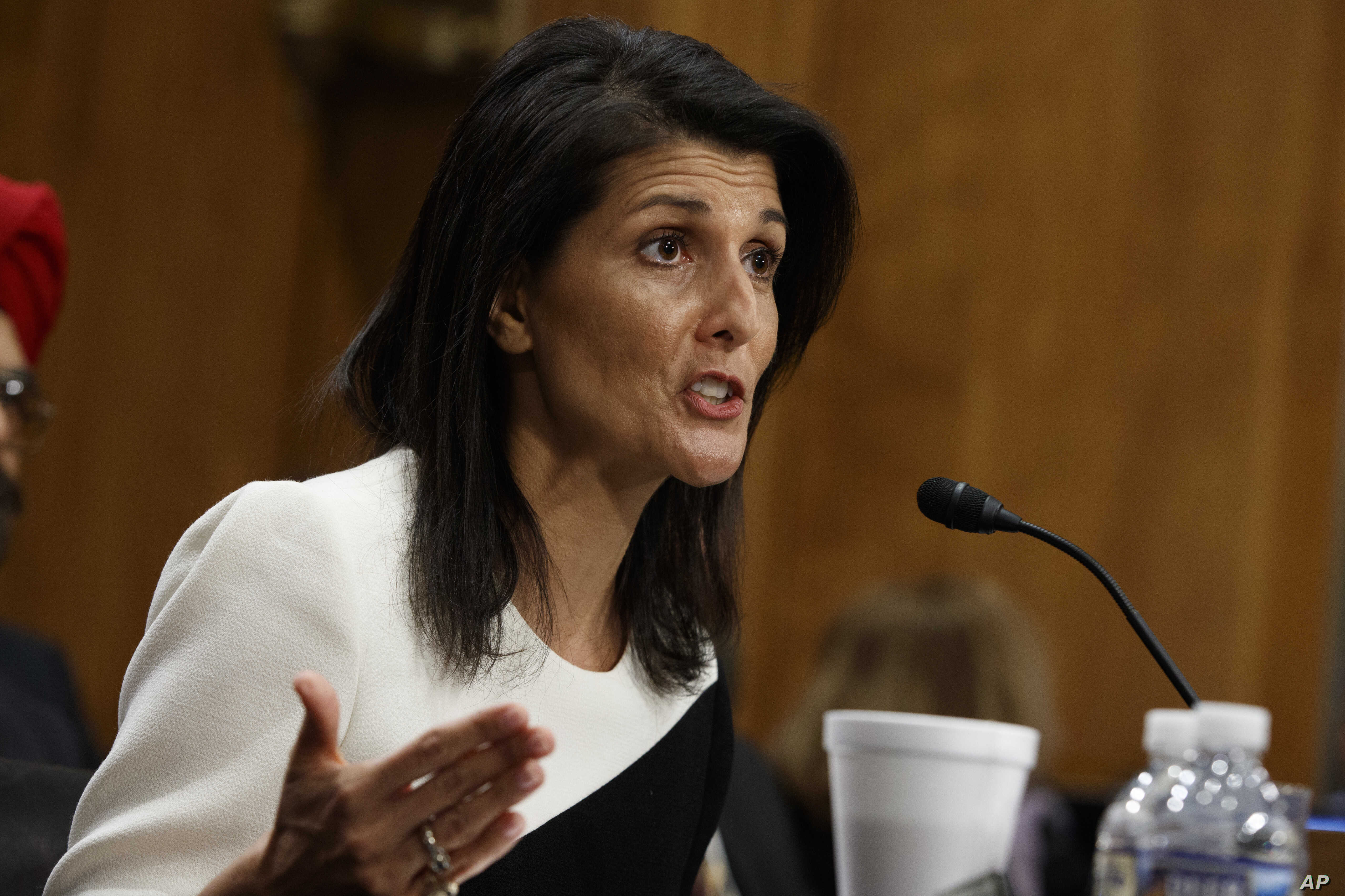 UN Ambassador-designate, South Carolina Gov. Nikki Haley testifies on Capitol Hill in Washington, Jan. 18, 2017, at her conformation hearing before the Senate Foreign Relations Committee.