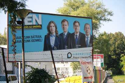 "This billboard, by one the country's farthest left parties, in Budapest, says, ""Vote bravely.  Vote 'Yes.'"" Sept. 30, 2016. (VOA/H. Murdock)"