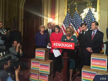 The Rev. Sharon Risher, a clinical trauma chaplain in Dallas who lost her mother, Ethel Lance, in the racially motivated shooting at the historic Emanuel AME Church in Charleston, N.C., in 2015, speaks at a news conference on Capitol in Washington, J...