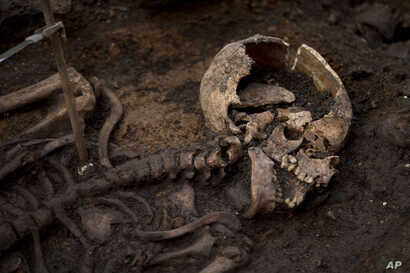 A skeleton lies in the ground on the archeological excavation site at the 16th and 17th century Bedlam burial ground, uncovered by work on the new Crossrail train line next to Liverpool Street station in London, March 6, 2015.