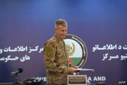 US Army General John Nicholson arrives ahead of a joint press conference in Kabul, Nov.  20, 2017.
