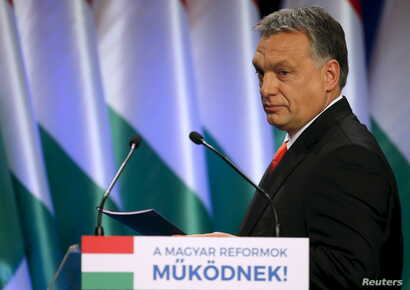 Hungarian Prime Minister Viktor Orban arrives to deliver his state-of-the-nation speech in Budapest, Hungary, Feb. 28, 2016.