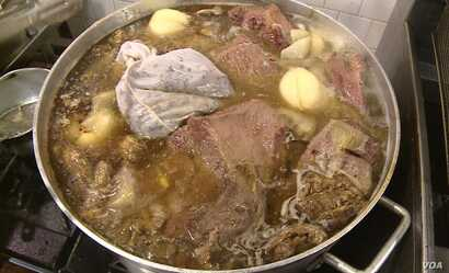 The owner of the Kobe House restaurant in Falls Church, Virginia says making pho starts with 45 kilograms of bones and a huge pot, and takes all night.