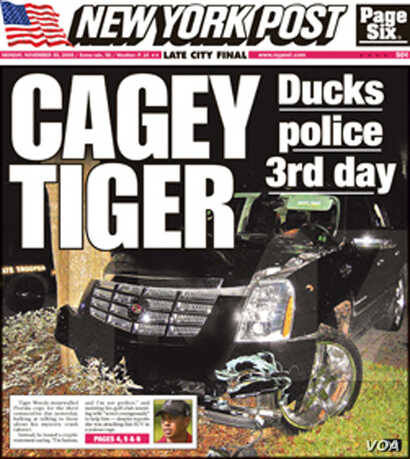 "Tiger Woods marital problems featured regularly in the tabloid newspaper ""The New York Post."" (courtesy NYPost/2009)"