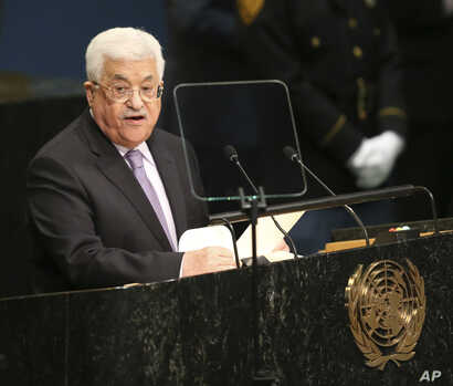 Palestinian Authority President Mahmoud Abbas speaks during the 71st session of the U.N. General Assembly at U.N. headquarters, Sept. 22, 2016.