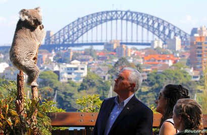 U.S. Vice President Mike Pence looks at a koala with his daughters, Charlotte and Audrey, and a keeper during a visit to Taronga Zoo in Sydney, Australia, April 23, 2017.