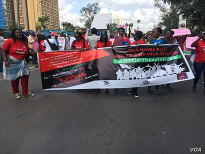 Hundreds of Protestors marched in Nairobi demanding an end to corruption. At least $100 million have been stolen at the country's national youth service. (Photo: Mohammed Yusuf for VOA)