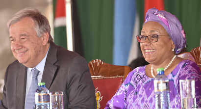 To commemorate the International Women's Day, the UN Secretary-General Antonio Guterres, left, joined the first lady of Kenya, Margaret Kenyatta, right, in Nairobi, Kenya,  March 8, 2017.