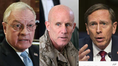 Possible choices for President Donald Trump's national security advisor include, from left, retired Army general, Keith Kellogg, former Navy Vice Admiral Robert Harward and former Central Intelligence Agency chief David Petraeus.