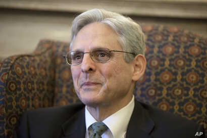 Judge Merrick Garland, President Barack Obama's choice to replace the late Justice Antonin Scalia on the Supreme Court, meets with Sen. Patrick Leahy, D-Vt., ranking member on the Senate Judiciary Committee, on Capitol Hill in Washington, March 17,...