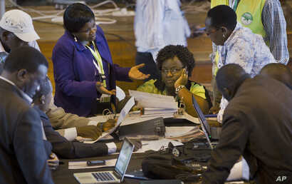 FILE - In this March 6, 2013 photo, official representatives of the various political parties and electoral workers discuss while reviewing newly received results, at the National Tallying Center in Nairobi, Kenya.