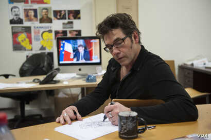 Tignous killed in the attack. draws live during television interview  with Nicolas Sarkozy, Paris, France, 29-01-2012 Charlie Hebdo is a French magazine that published cartoons mocking Mohammed and the magazine, which has a circulation of about 55,00...