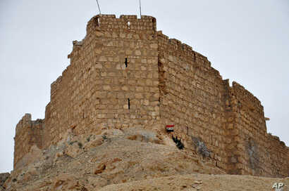 In this photo released by the Syrian official news agency SANA, a Syrian soldier holds a Syrian national flag in front of the Palmyra citadel, March 27, 2016.