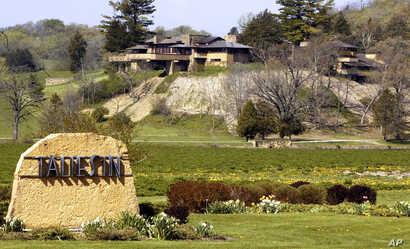 FILE- Taliesin, Frank Lloyd Wright's 600-acre Wisconsin home, in Spring Green, Wisconsin, May 4, 2004.