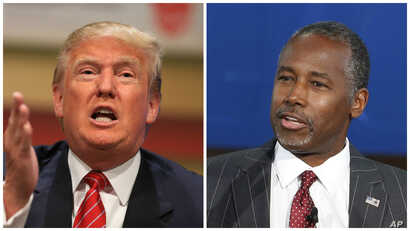 Republican presidential candidates Donald Trump, left, and Ben Carson.