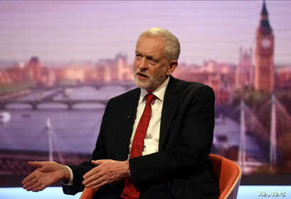 Jeremy Corbyn, leader of Britain's opposition Labour Party speaks on the BBC's Marr Show in London, June 11, 2017.