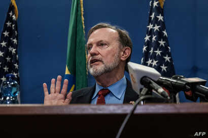 FILE - Assistant Secretary of State for African Affairs Tibor Nagy speaks during a press conference at the US Embassy in Addis Ababa, on November 30, 2018.