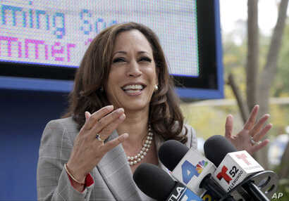 California Attorney General Kamala Harris takes questions after voting in Los Angeles, June 7, 2016. She and U.S. Rep. Loretta Sanchez advance to a runnoff election in November to replace retiring U.S. Sen. Barbara Boxer, a Democrat.