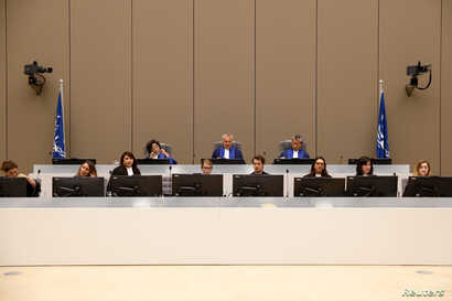 Presiding Judge Robert Fremr is pictured in the courtroom during the trial of Congolese warlord Bosco Ntaganda at the ICC (International Criminal Court) in the Hague, the Netherlands, Aug. 28, 2018.