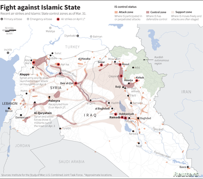 Map of the IS sanctuary in Syria and Iraq, locating recent violence and the Turkish air bases in the area.