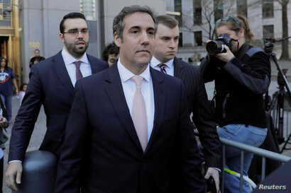 U.S. President Donald Trump's personal lawyer Michael Cohen departs federal court in the Manhattan borough of New York, April 26, 2018.