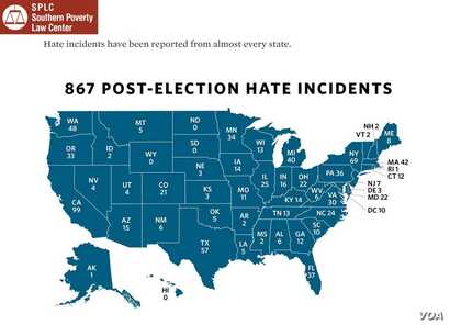 The Southern Poverty Law Center (SPLC) reports 876 of hate incidents in the 10 days following Donald Trump's election; map details number of hate incidents from almost every state, Tuesday, Nov. 29, 2016.