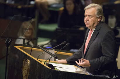 United Nations Secretary-General Antonio Guterres speaks during the 72nd session of the United Nations General Assembly at U.N. headquarters, Sept. 19, 2017.