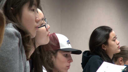 Women computer science students are seen in class at Harvey Mudd College in California.
