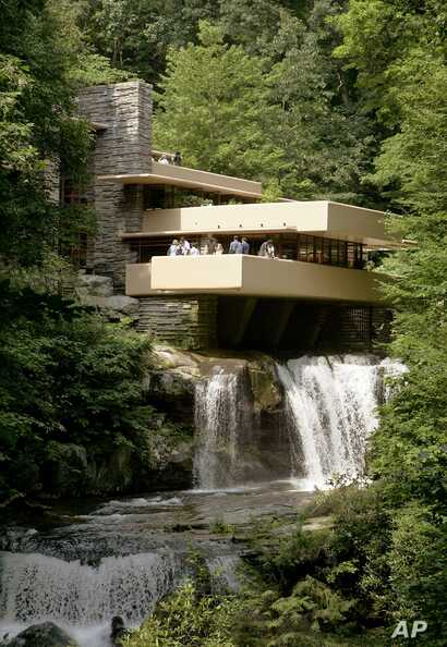 "The American Institute of Architects calls Fallingwater, in Pennsylvania, which is partly built over a waterfall, the ""best all-time work of American architecture."""