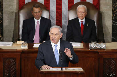 Israeli Prime Minister Benjamin Netanyahu speaks before a joint meeting of Congress on Capitol Hill in Washington, March 3, 2015.