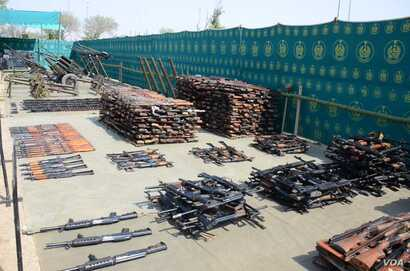 In undated photos, Pakistani troops have raided and searched suspected militant places in North Waziristan and found weapons, ammunition, explosives and communication equipment during Zarb-e-Azb counter-militancy operations.