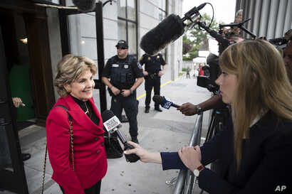Attorney Gloria Allred speaks with members of the media ahead of Bill Cosby's sexual assault trial at the Montgomery County Courthouse in Norristown, Pa., June 5, 2017.